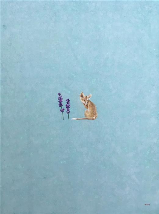 "The Fox (30"" x 22"")by Heejin Sutton, mixed media artwork"