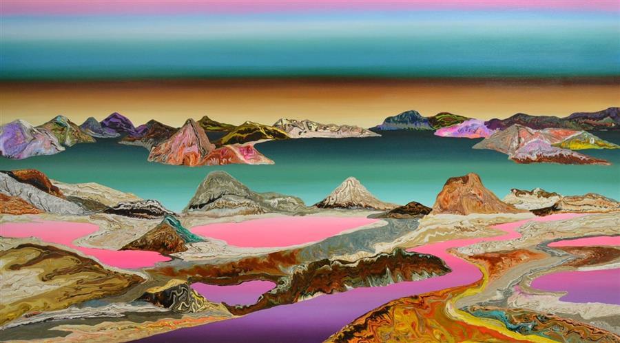 """Magic River I  (39"""" x 71"""") by Gabriela Fernandez, acrylic painting"""