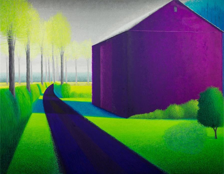 "Hockney Kahn Violet Barn  (52"" x 66"") by Sean Williams, oil painting"