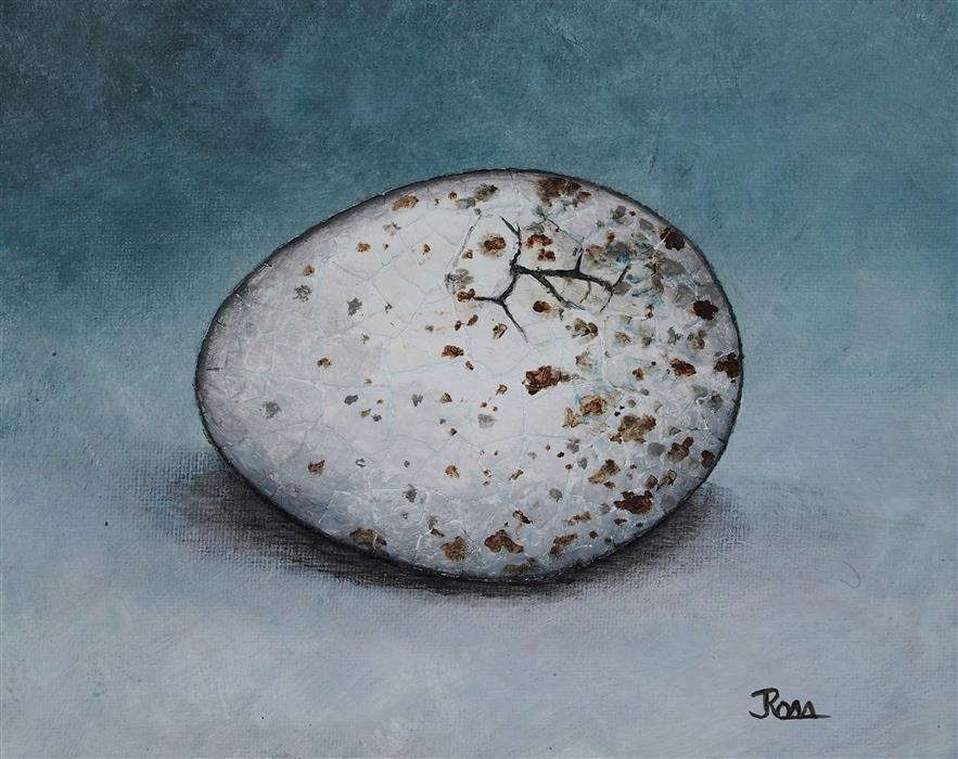 "The Bird Waits In The Egg #9  (8"" x 10"") by Jennifer Ross, acrylic, eggshells on stretched canvas"