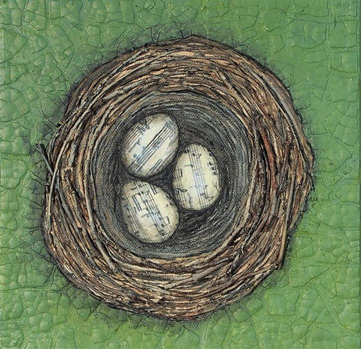"Nestmaking-Song Sparrow's Nest  (8"" x 8"") by Jennifer Ross, acrylic, acrylic, eggshells, twigs, sheet music on stretched canvas"