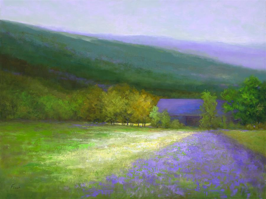 Purple Barn - Half Moon Bay  by Sheila Finch, oil painting