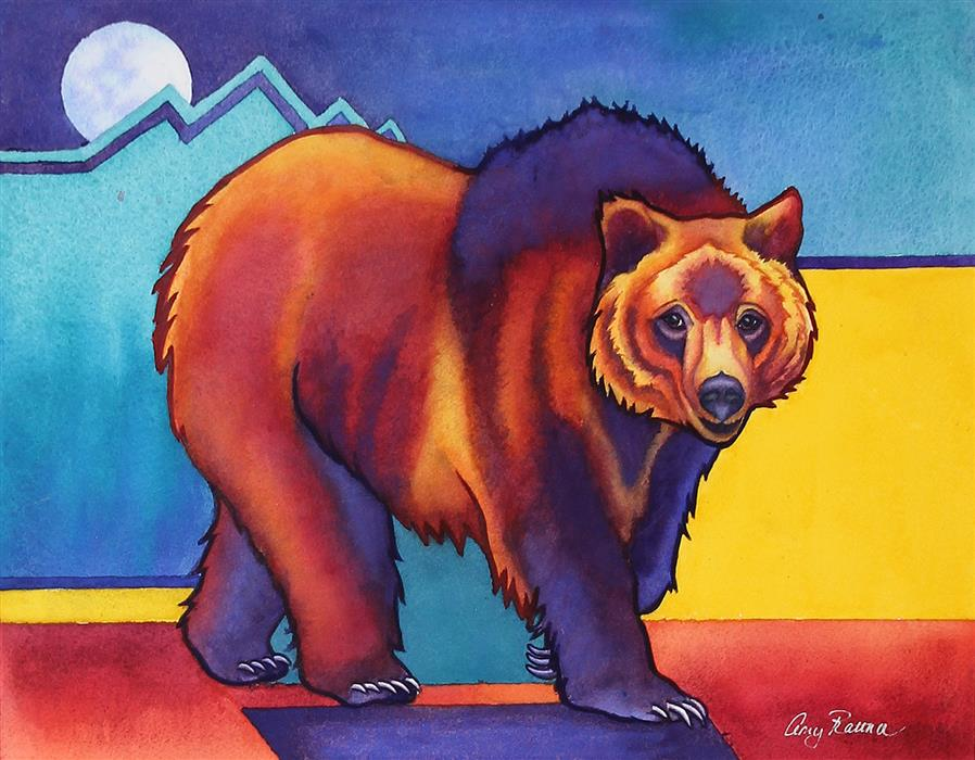 """Grizzly  (15/25"""" x 19"""") by Amy Rattner, watercolor painting"""