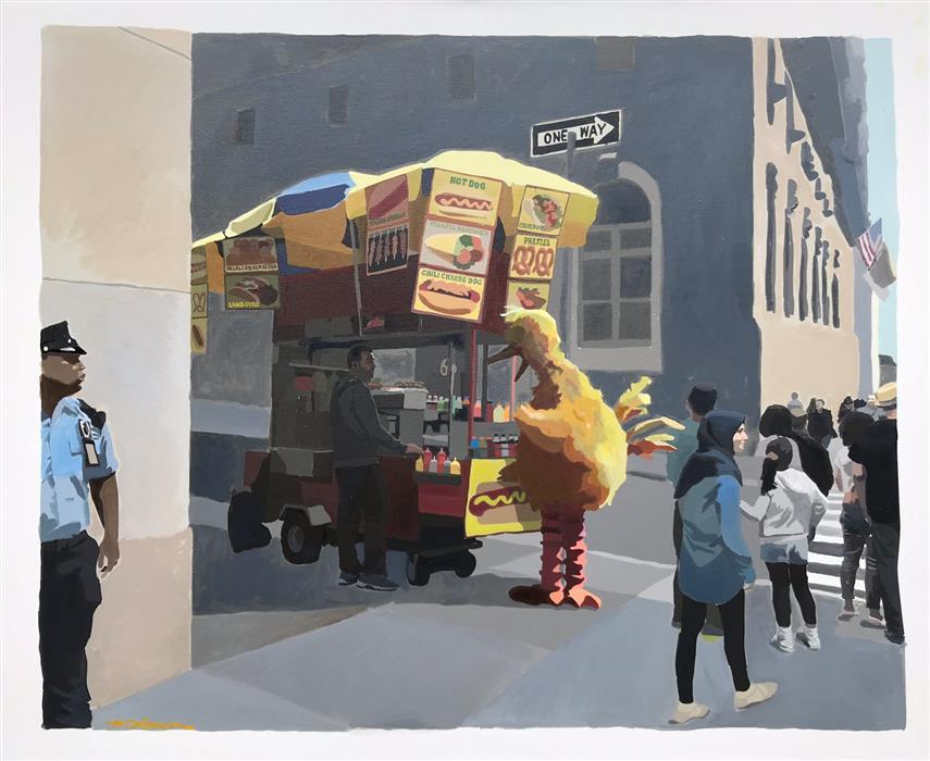 "Bird, Dog  (28"" x 34"") by Keith Thomson, mixed media artwork"