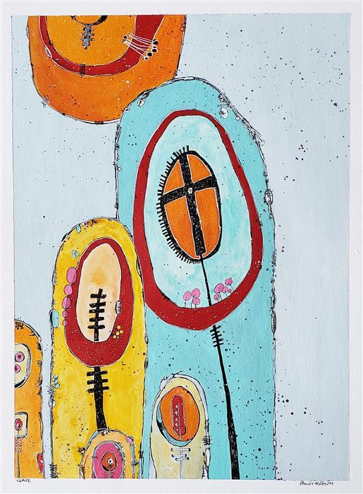 "Gaze  (24"" x 18"") by Pamela Roberson, mixed media artwork"