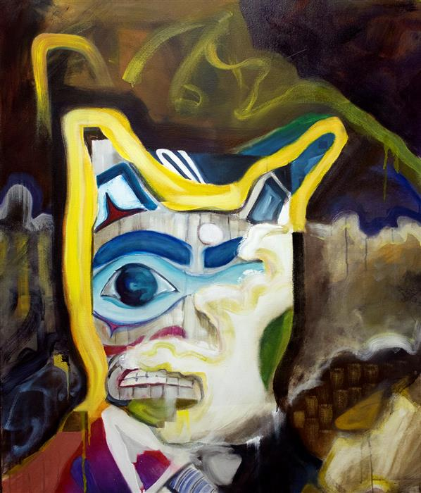 "Shame Totem  (45"" x 38.25"") by Gregory Fricker, oil painting"