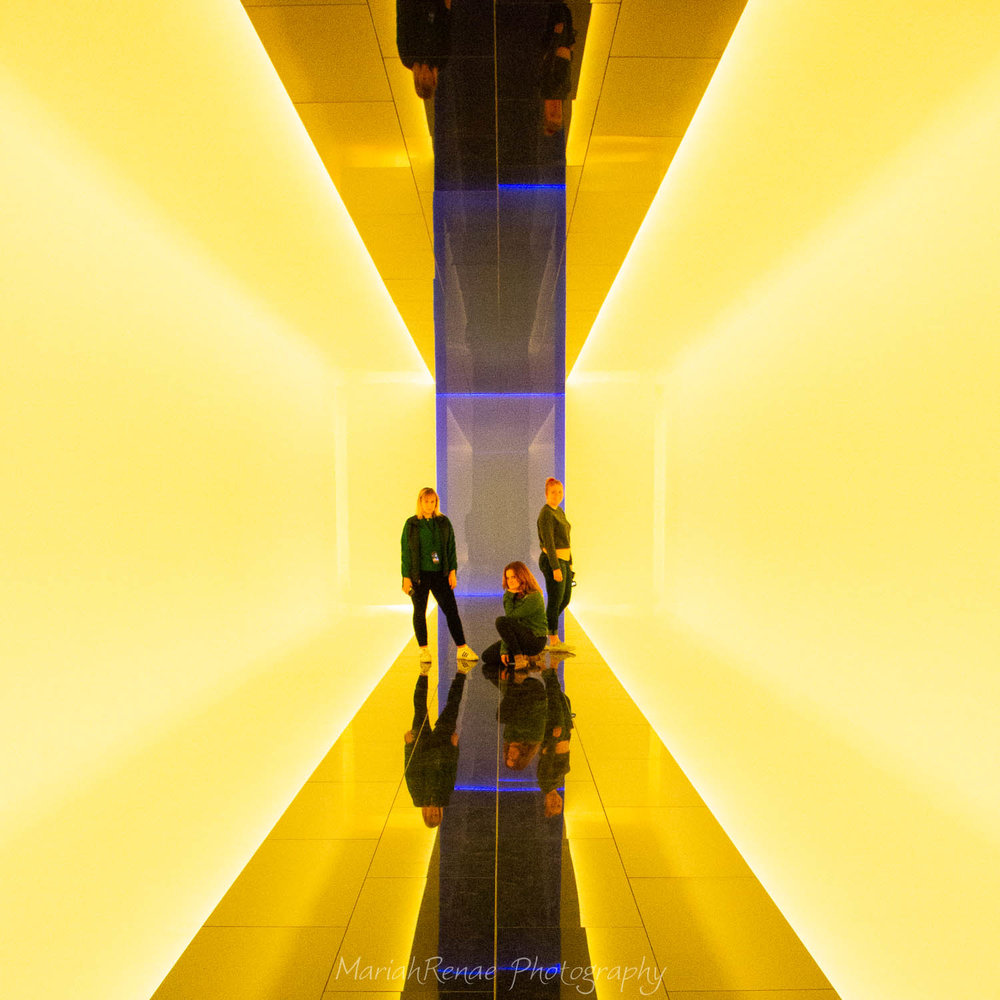 Beside Myself: the color changing hall way courtesy of James Turrell.