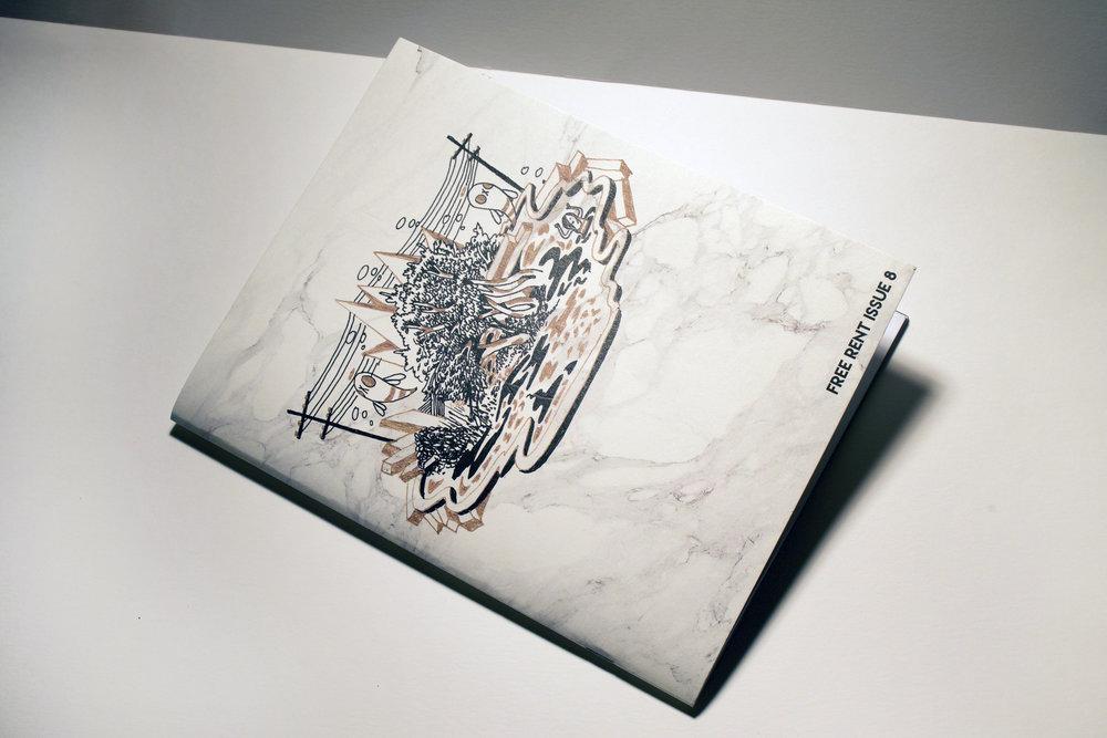 Free Rent Issue #8 - full zine layout design showcasing 20 international and regional artists