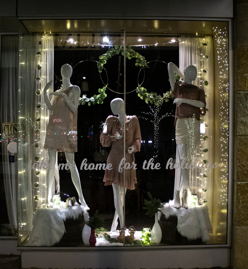 Hemline Window Display - window display design showcased in Austin's 2nd Street District during the winter holiday season