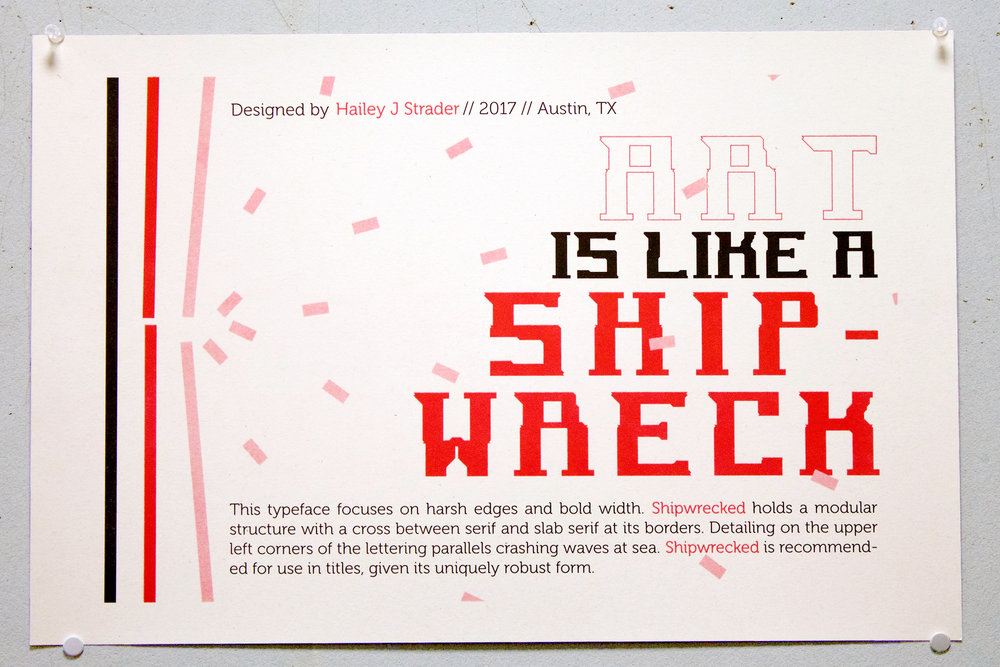 Shipwrecked - typeface design centered around a single word: Shipwrecked
