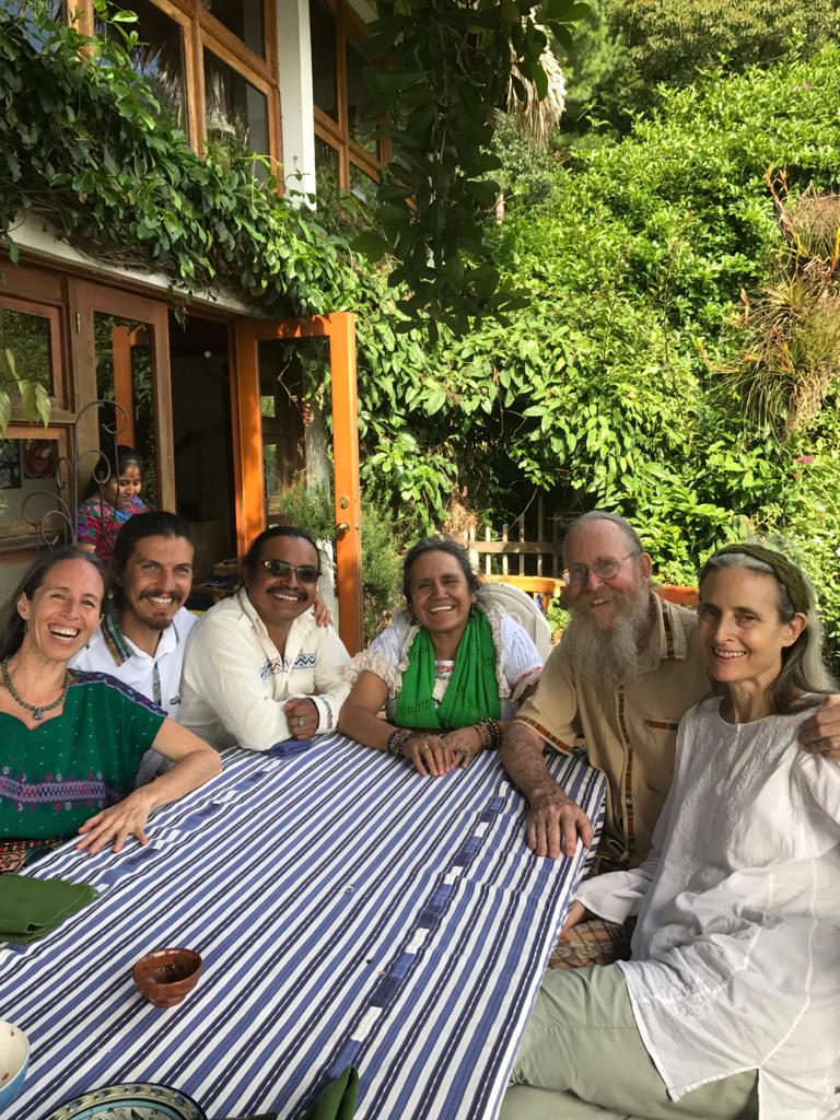 From Right to Left: Barbara & Keith Wilson, Nan Faviana Cochoy Alba & Tan Pedro Yac Noj. Sharing with our Family after our Last Fire Ceremony. 2018, Lake Atitlan, San Marcos, Guatemaya.