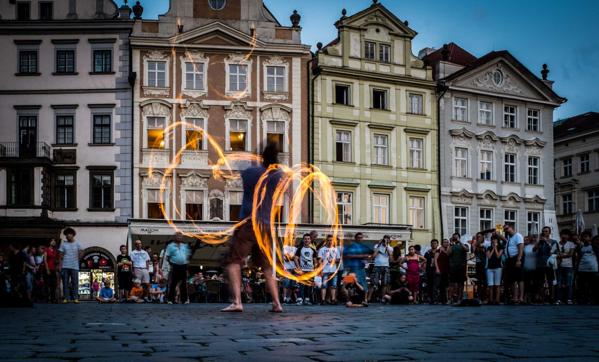 Performers in Old Town Square in Prague, Czech Republic