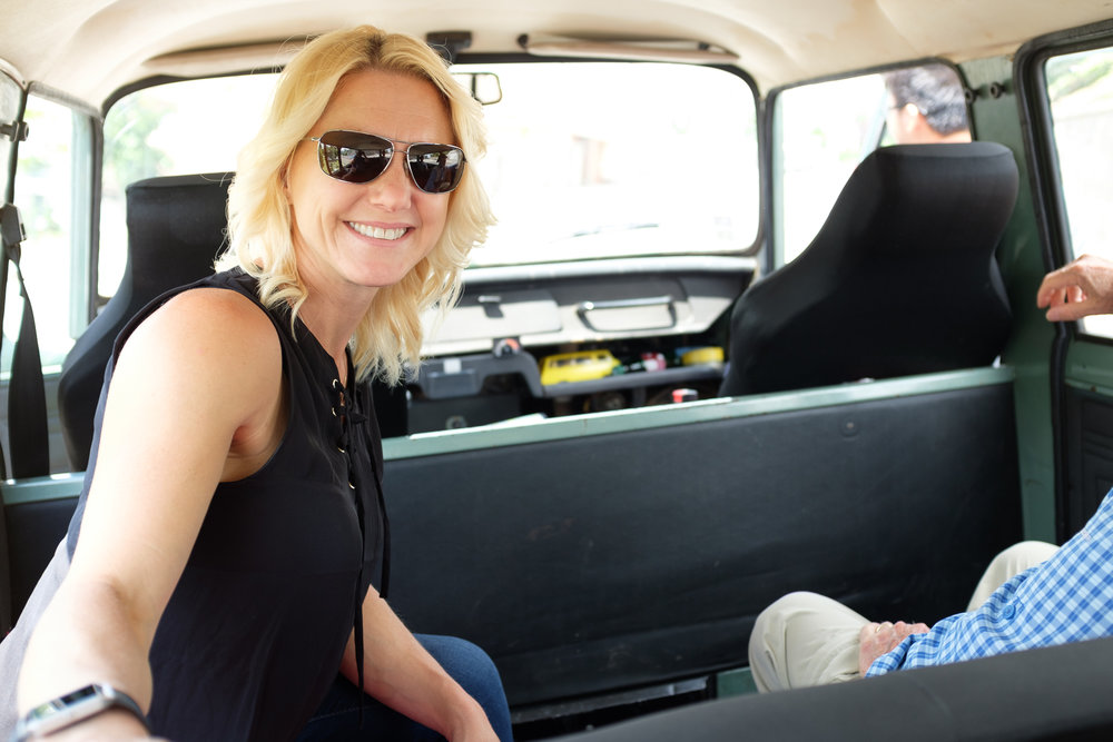 Julie smiles while in Bratislava, Slovakia...riding in the back of a communist era van with no A/C or shocks.  :D #HappyHuman moment