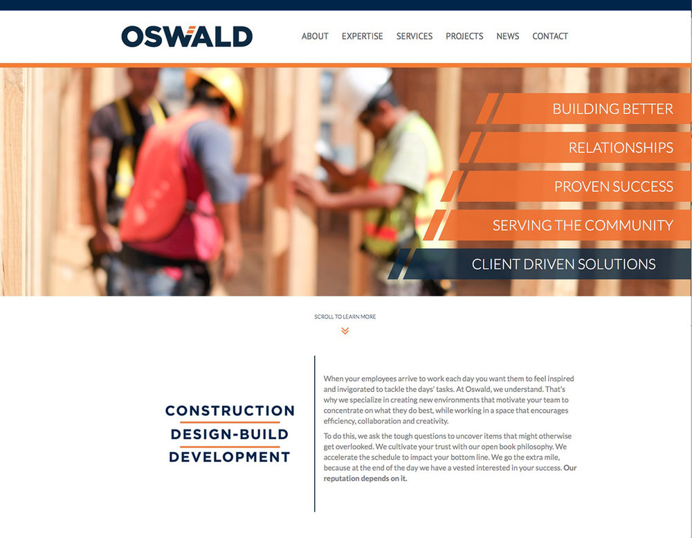 Oswald Construction Website Photography