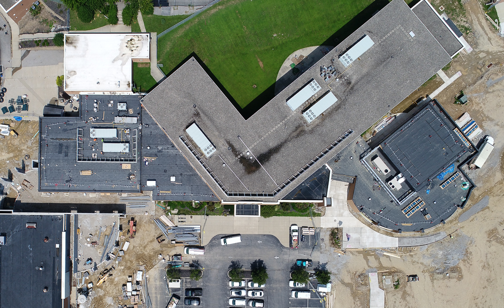 Covington Catholic High School construction aerial photo - Vertical Aerial Photograph