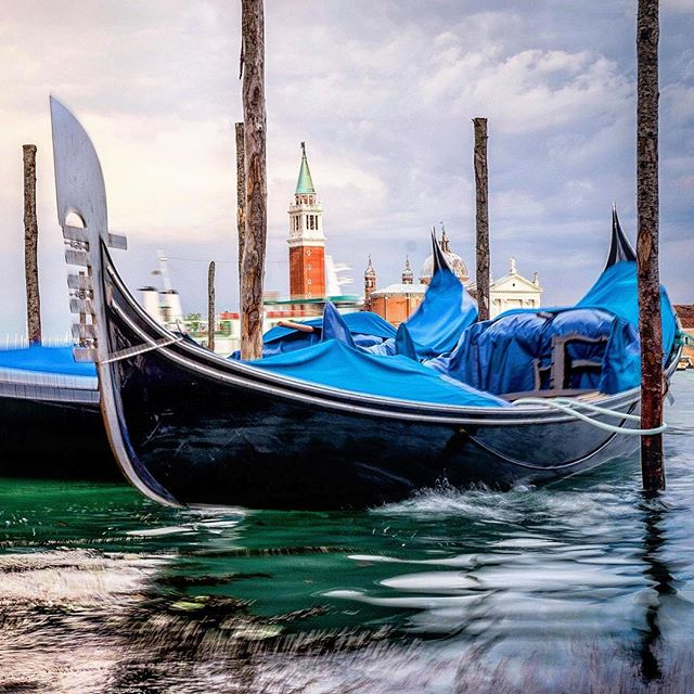 Another of my favorite early morning shots of rocking gondolas in Venice Italy. #veniceitaly #gondola #venecian #fujifilmx_us #fujifilm