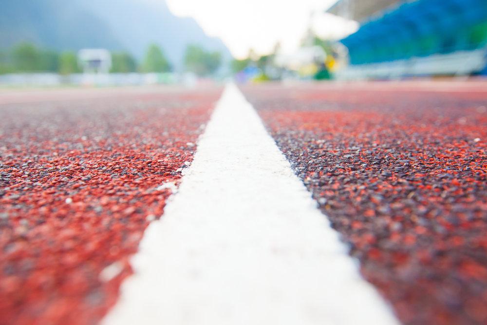white-field-track-line