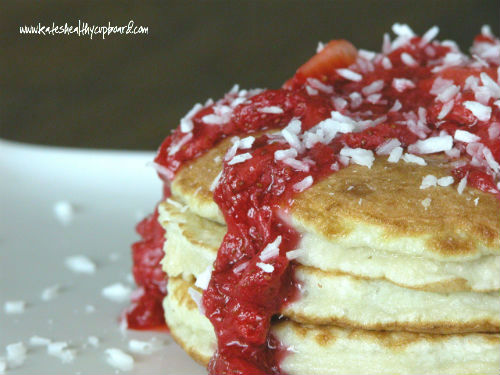 Coconut Pancakes with Strawberry Syrup