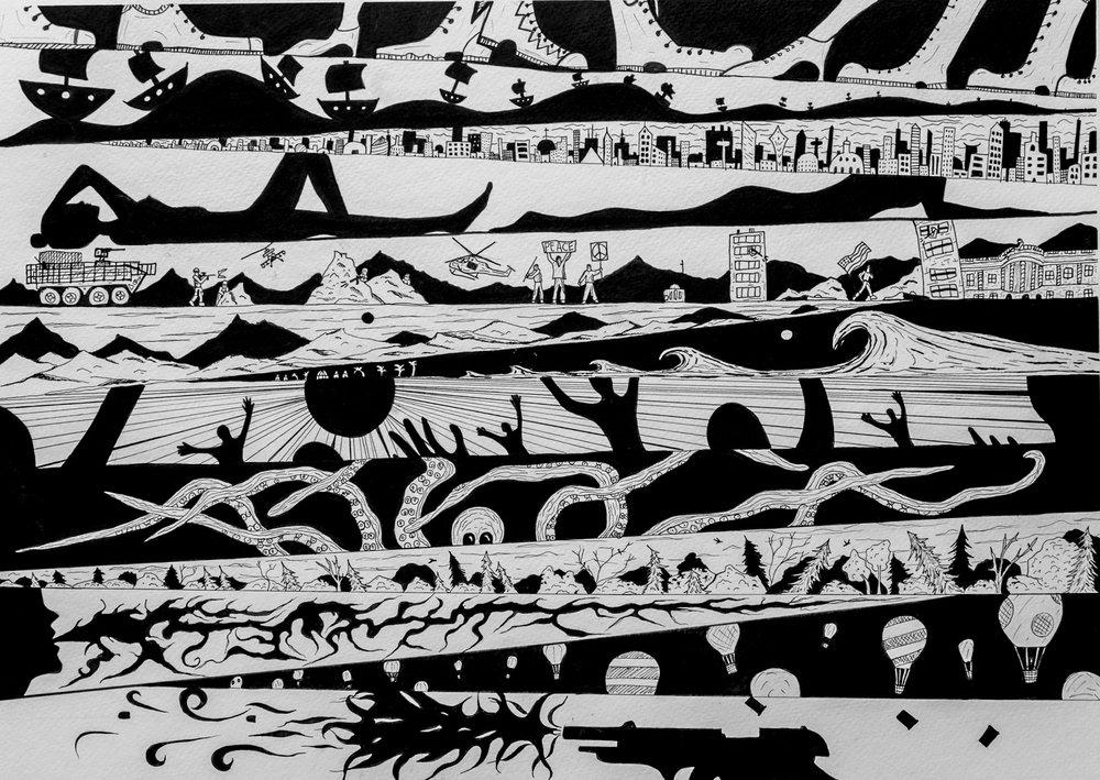 SLANTED SHRIEK ORIGINAL PEN AND INK DRAWING 18x24  $250