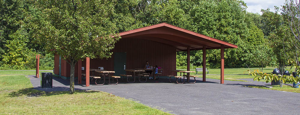 Open pavilion with indoor restrooms (closed November - March). There's also picnic benches and an area for grilling. To reserve the pavilion call the Camden County Department of Parks at (856) 216-2149.