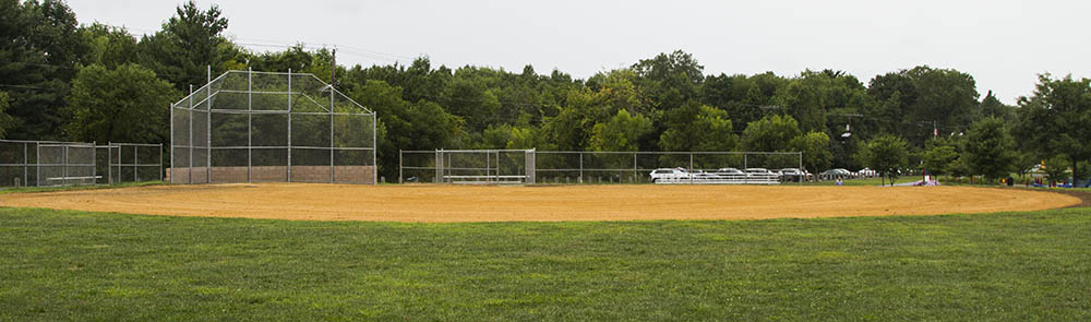 A regulation softball field.