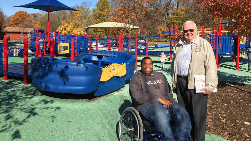 Jake's Law is named for Jake's Place, an inclusive playground in Cherry Hill. Pictured are executive director Arthur Aston (left) and co-founder Jim Cummings. (Joe Hernandez/WHYY)