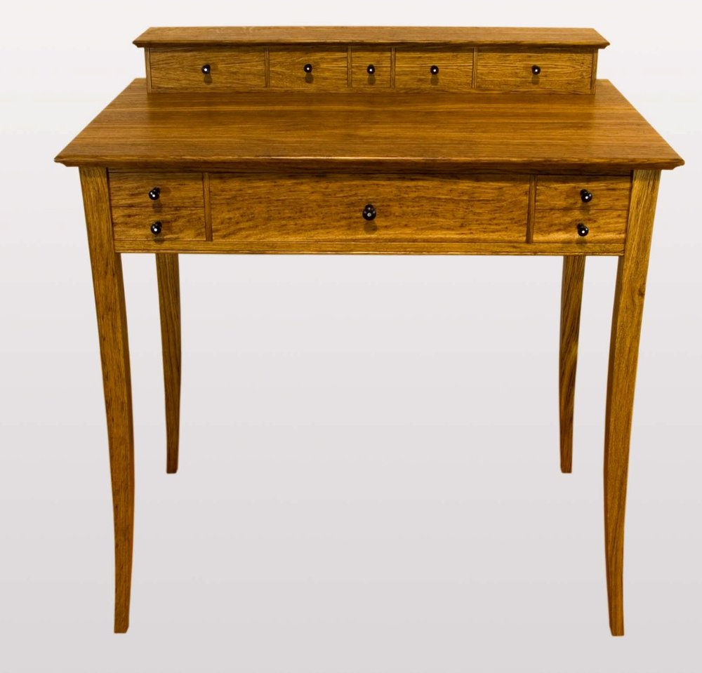 """Ladies writing desk""   Brown oak,rippled maple and African blackwood."