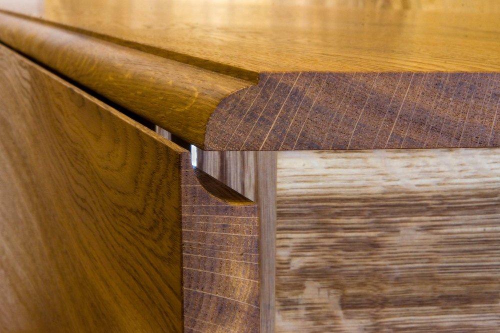 """""""Harvest table""""  Drop leaf detail."""