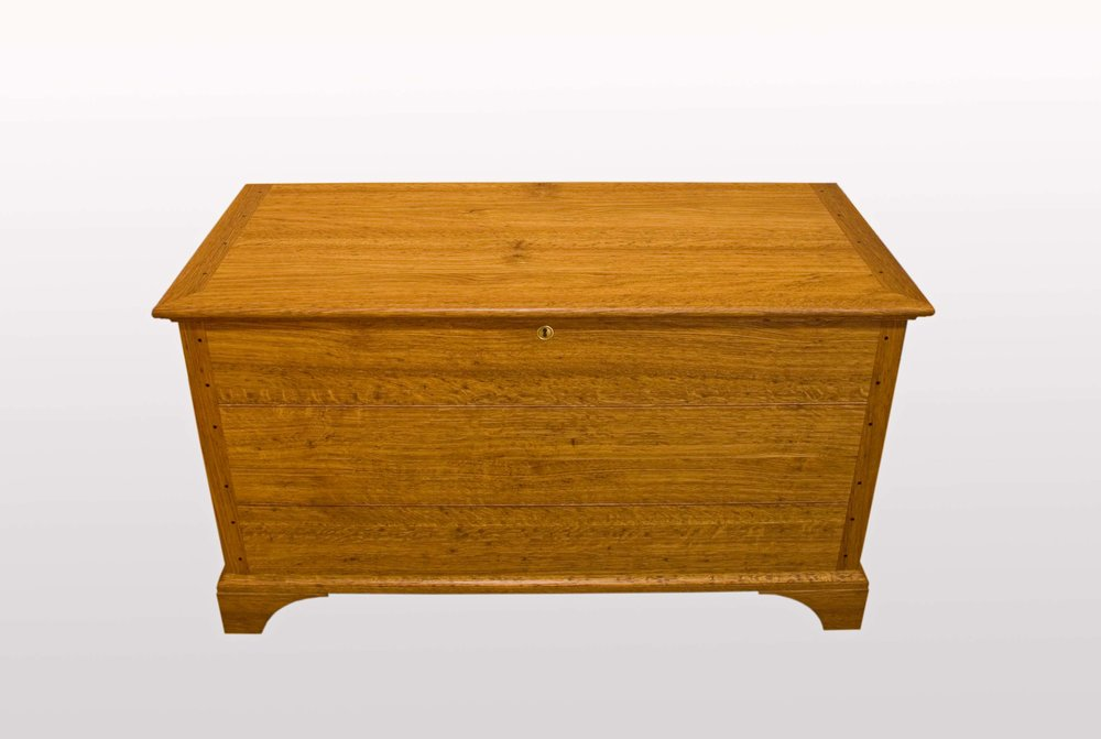 """Blanket chest""  Brown oak,cedar of Lebanon,rippled lime."