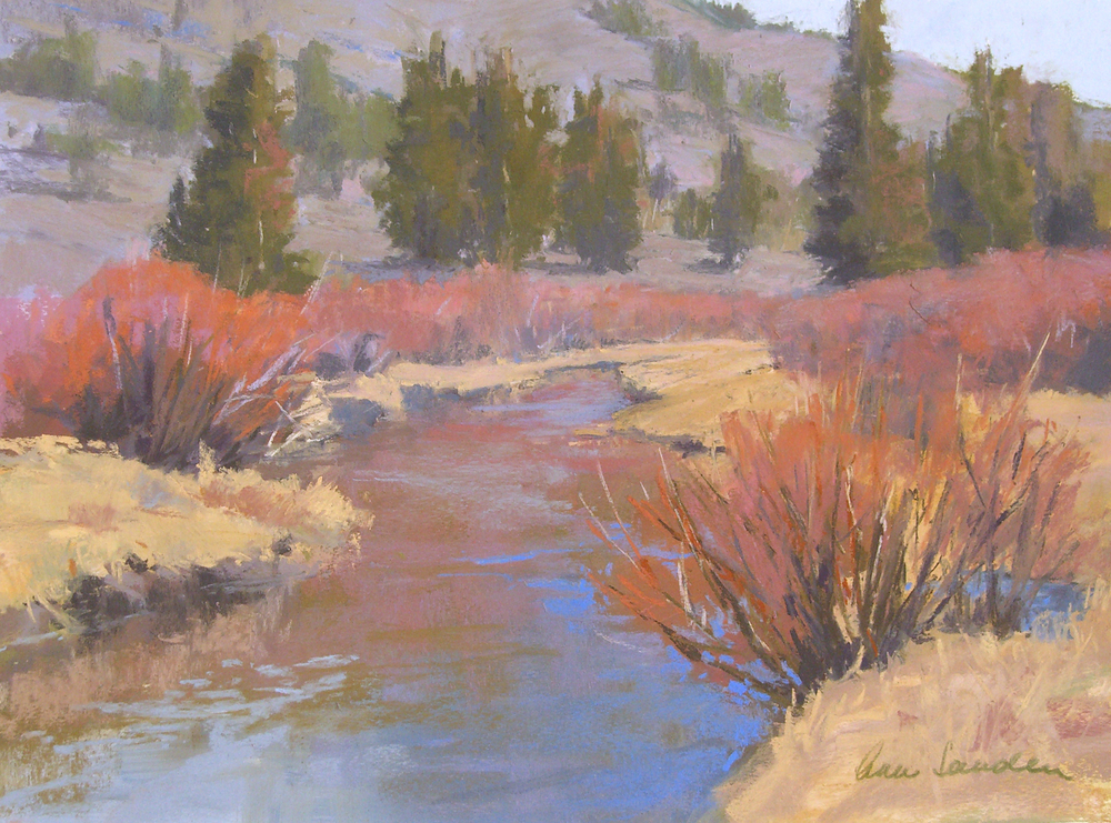 Rock Creek Willows, pastel, 12x16