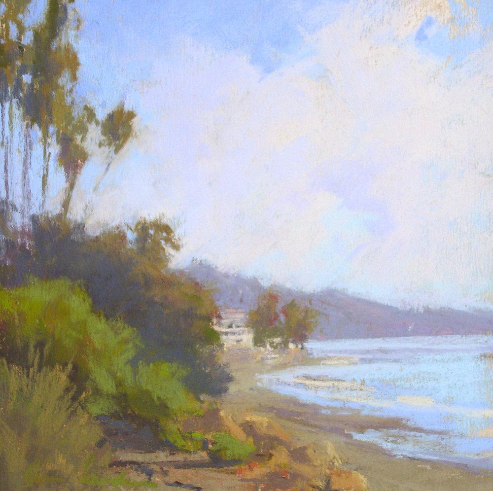 Butterfly Beach, pastel, 8x8