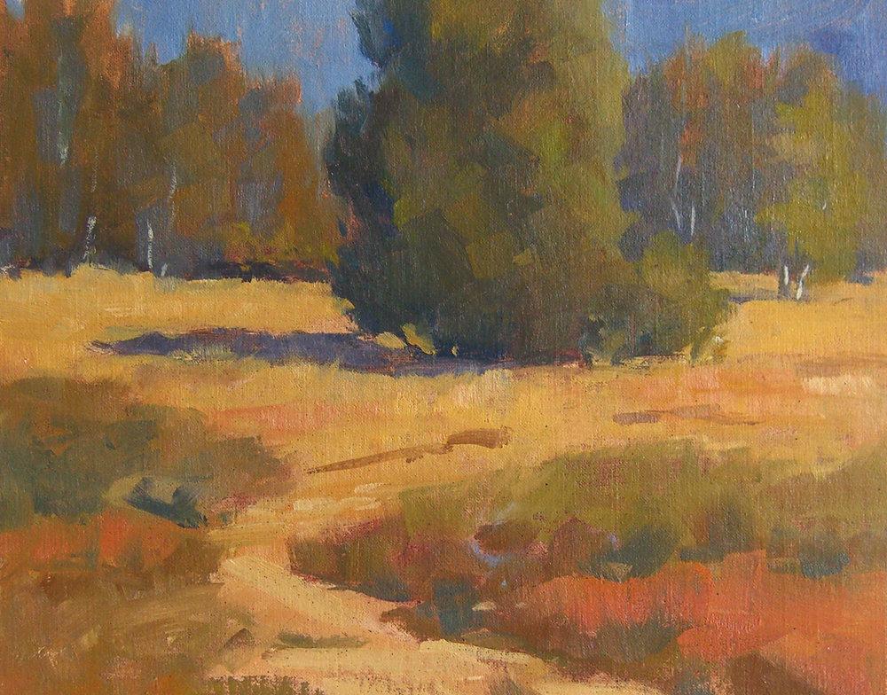 Lake Los Carneros Colors, oil, 8x10