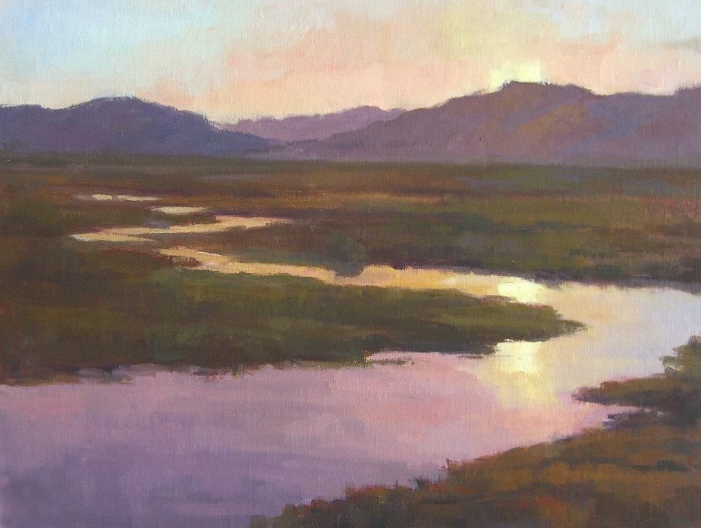 Carrizo Plain Sunset, oil, 12x16 SOLD