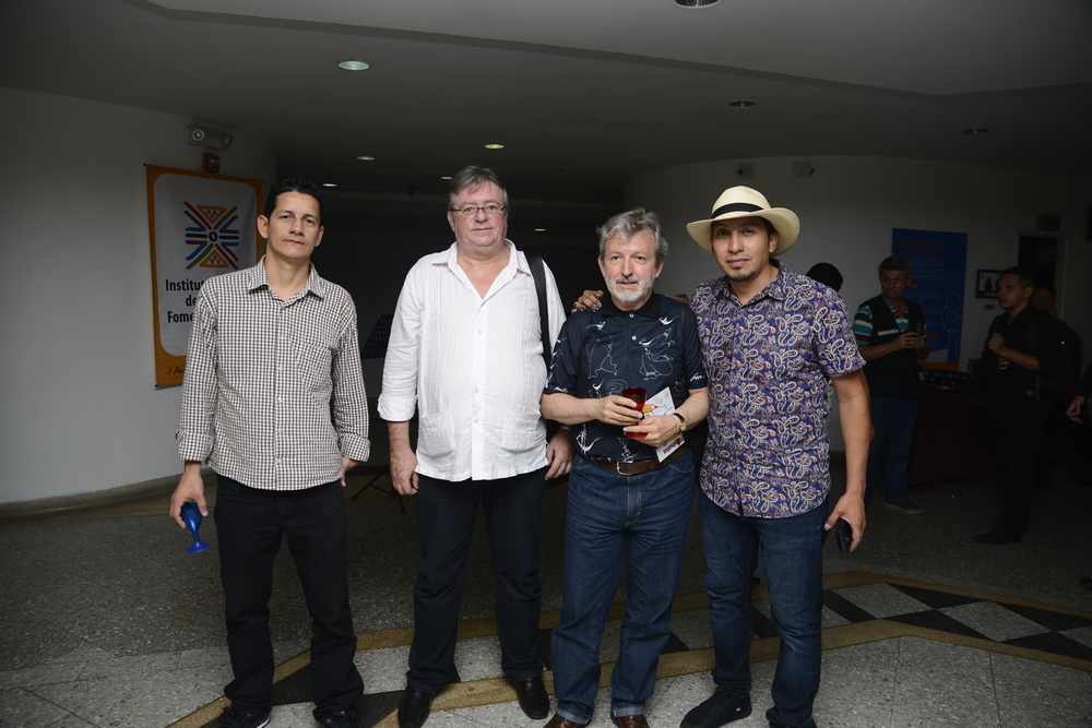 Visual artist Carlos Delgado with curators of Sala Carlos Drew Castro in Colombia