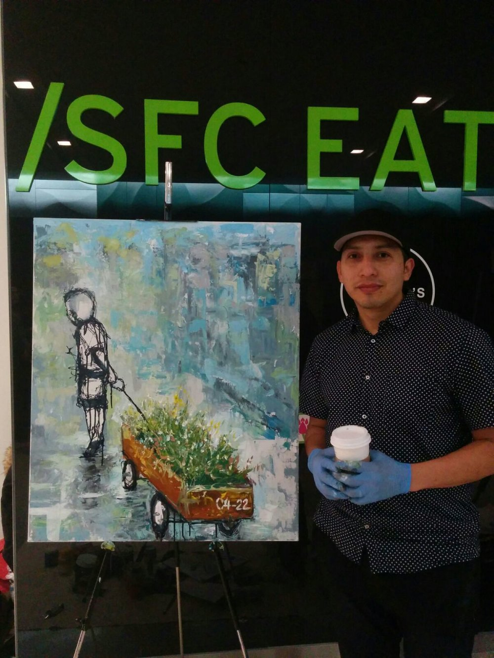 This piece was created at a live painting event at the SFC Eatery in the financial district to bring awareness around Earth Week. I wanted to highlight our responsibility of passing on a healthy world to our children and teaching them from when they are young.