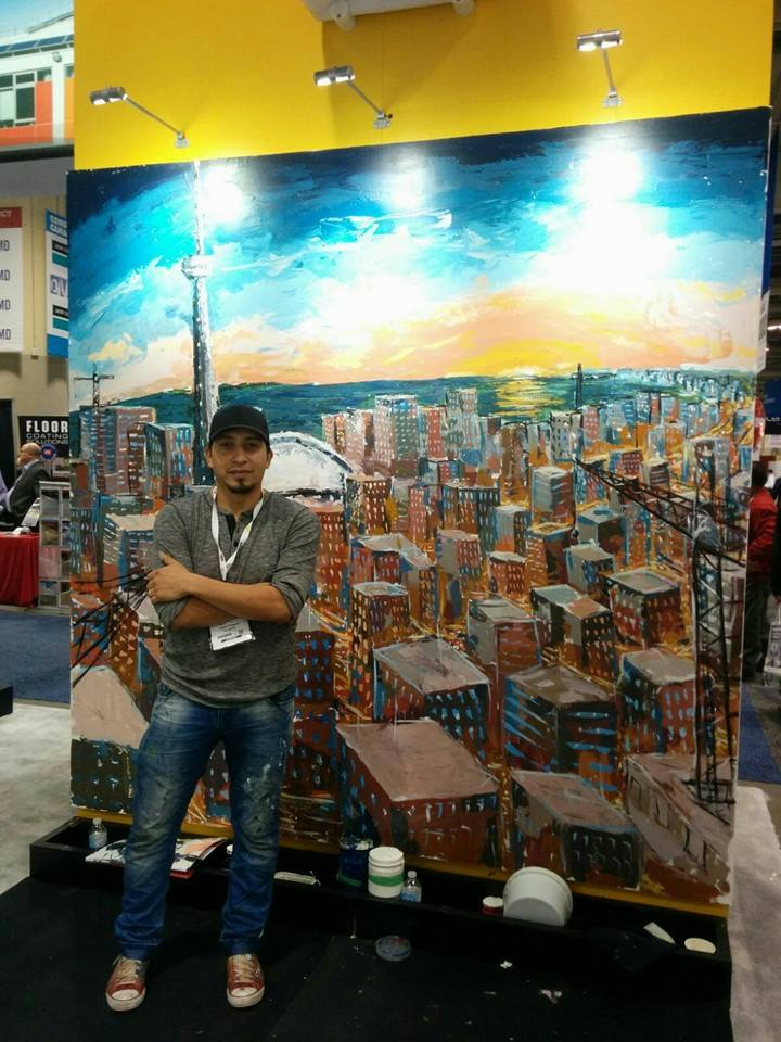 This live painting piece was created over two days for Construct Canada Trade Show, capturing the passion for the growth of this city, so common to the experience of individuals working in this industry.