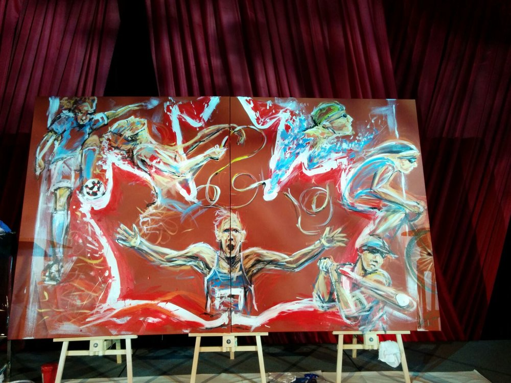 The finished large scale piece was painted at the opening reception of Pan Am Games in Toronto and brought to life the diversity, pride and athleticism in Canadian sports and the national pride and support of a country behind it's athletes.