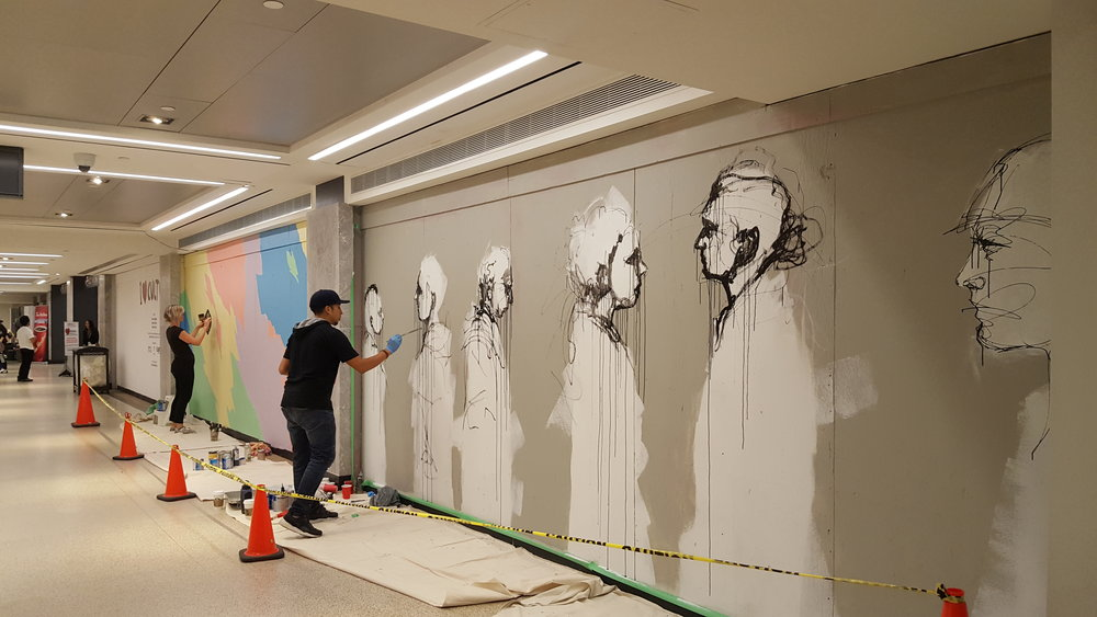 Culture Days live mural painting at Union Station, Toronto near GO Terminal entrance