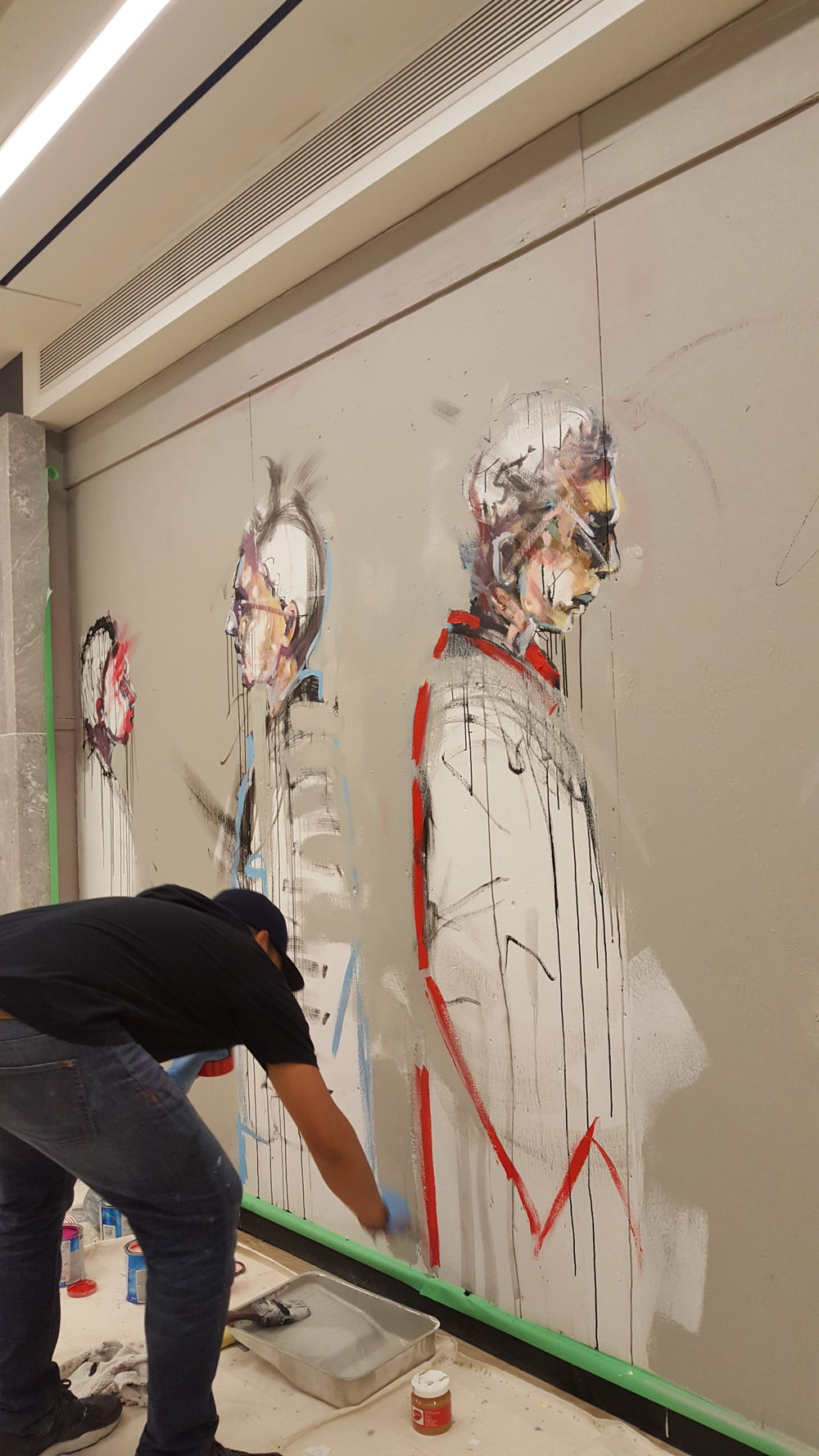 Culture Days live mural painting at Union Station, Toronto, Being Human in the System art series coming to life.