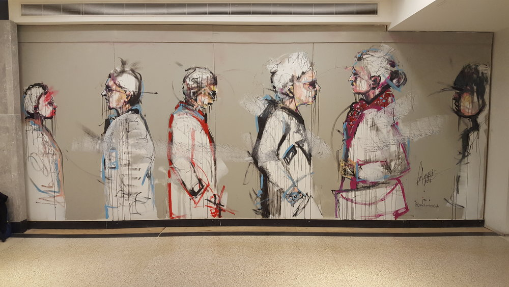 Finished street art, mural at Union Station capturing the constant movement of commuters, travellers and people in Toronto.