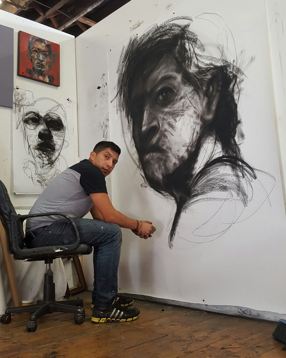 Large scale black and white drawing as part of a new series by Carlos Delgado.