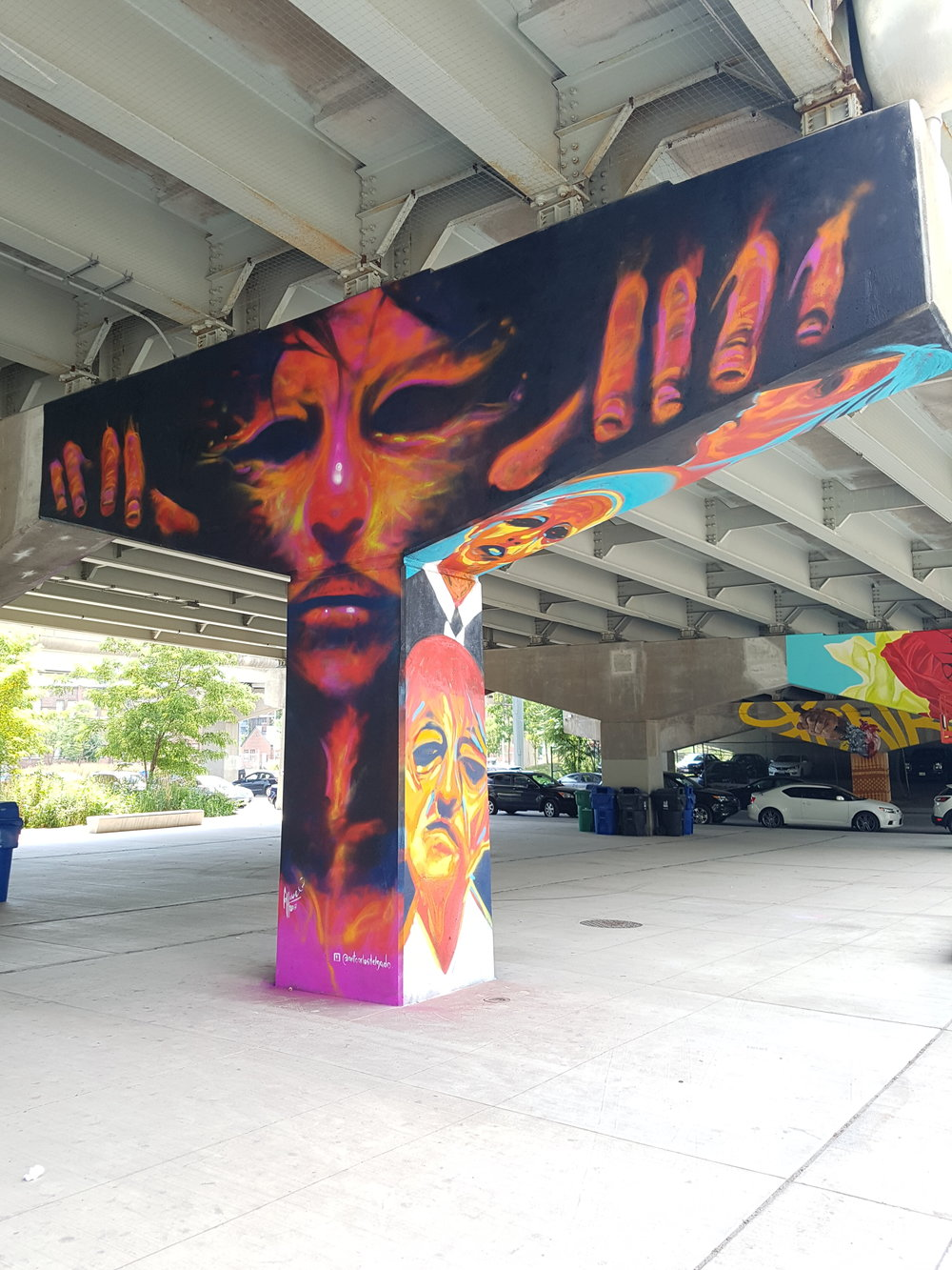 Front of mural in Underpass Park in Toronto by Carlos Delgado.