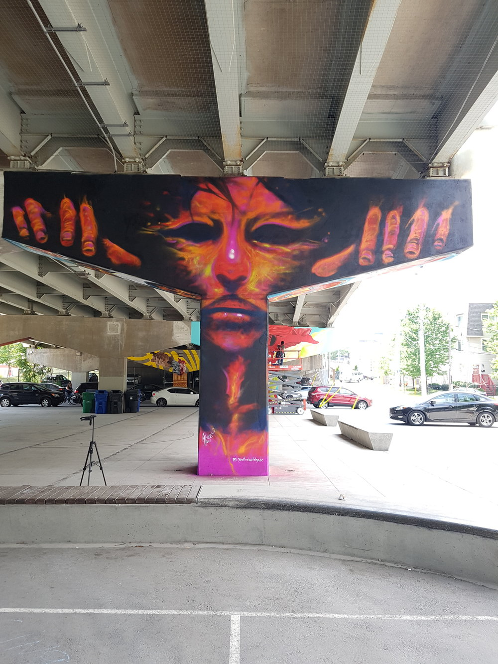 Far shot from street art on column under the bridge. Thanks to Mural Routes for invitation.