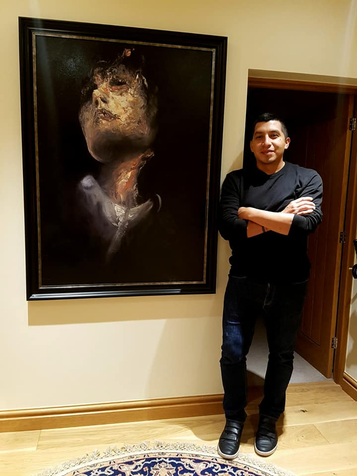 A stunning presentation of an original piece by Carlos in the entrance way in a collector's home in Europe