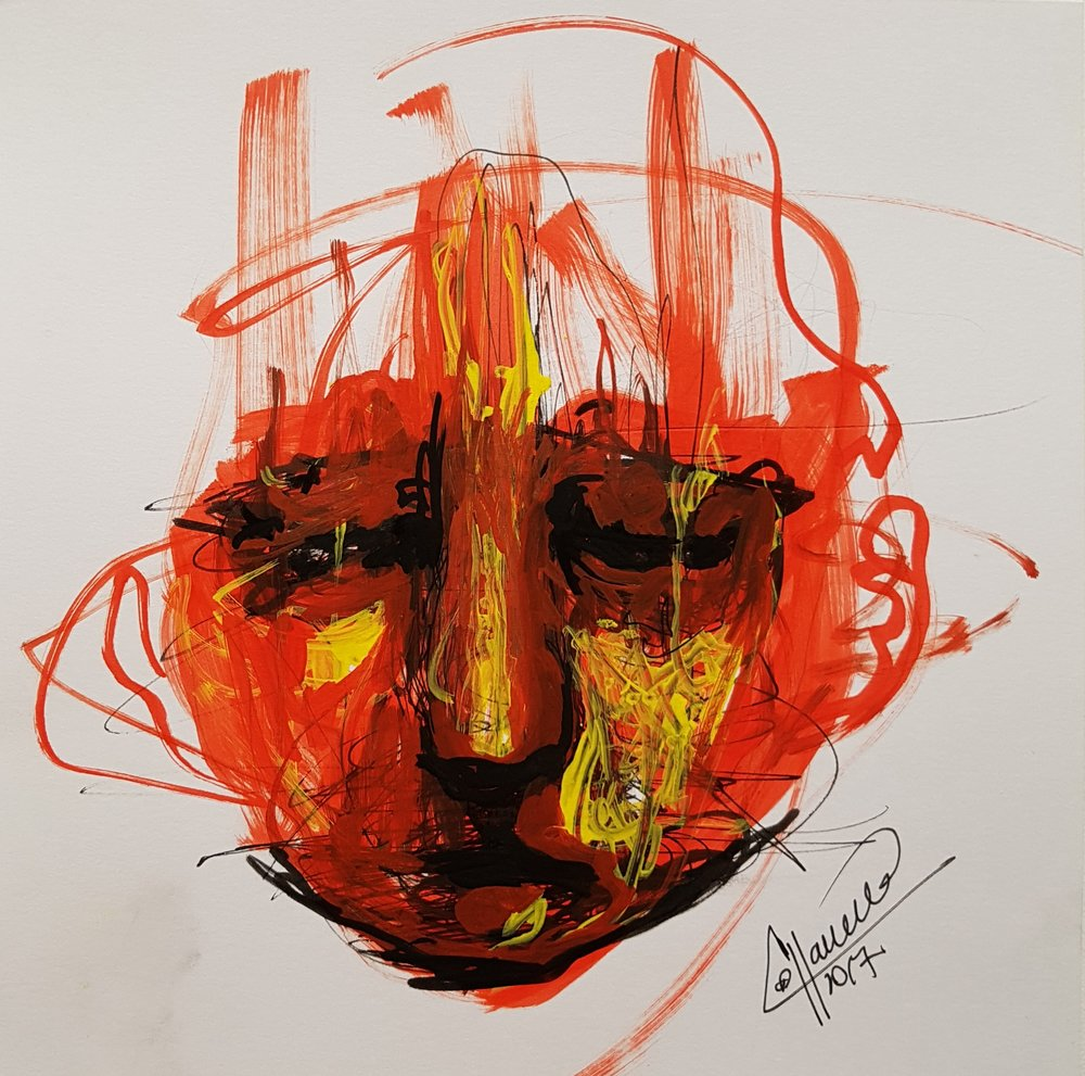 Drawing of face looking down, sketch in marker.