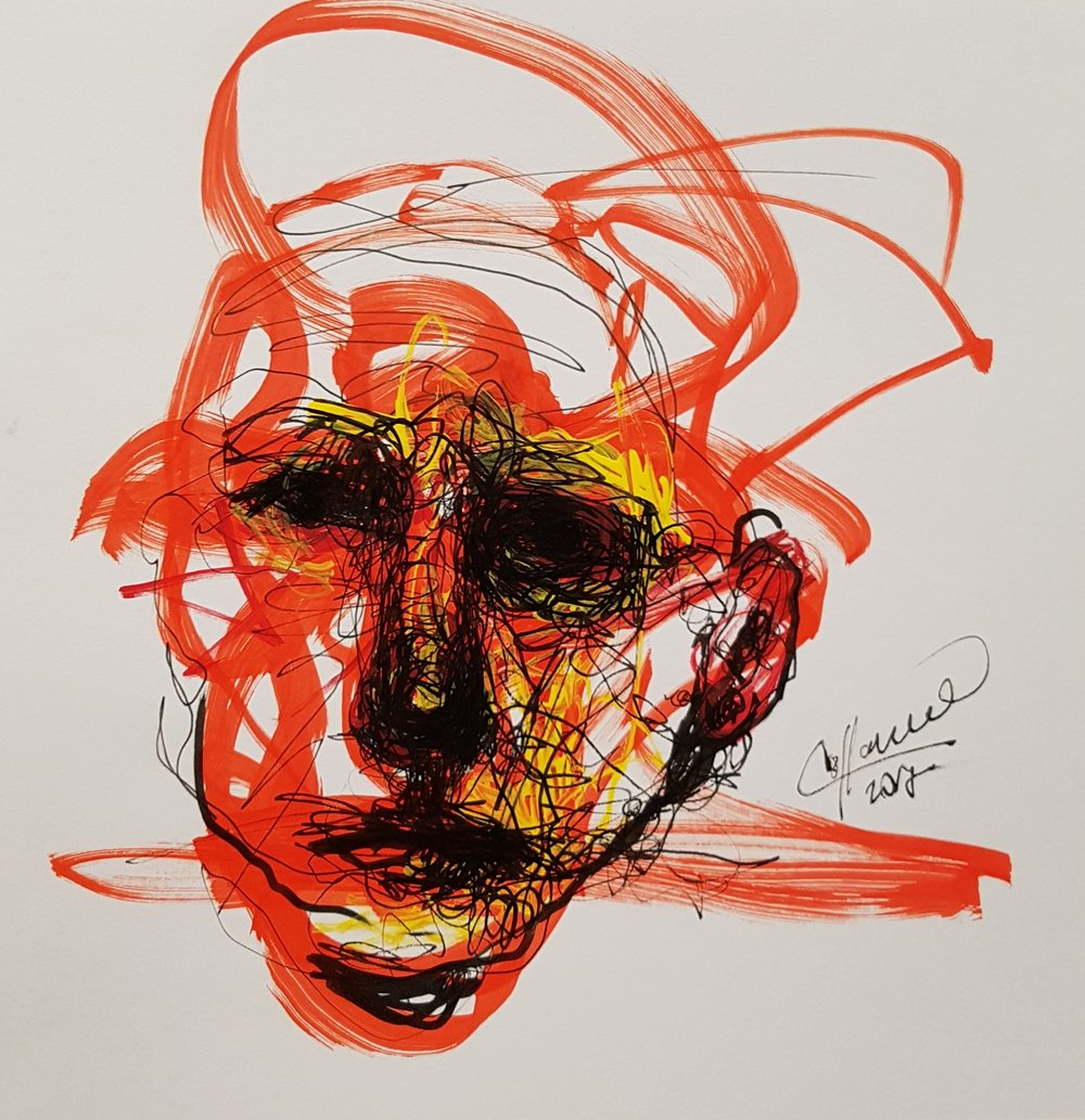 abstract drawing of face made in marker