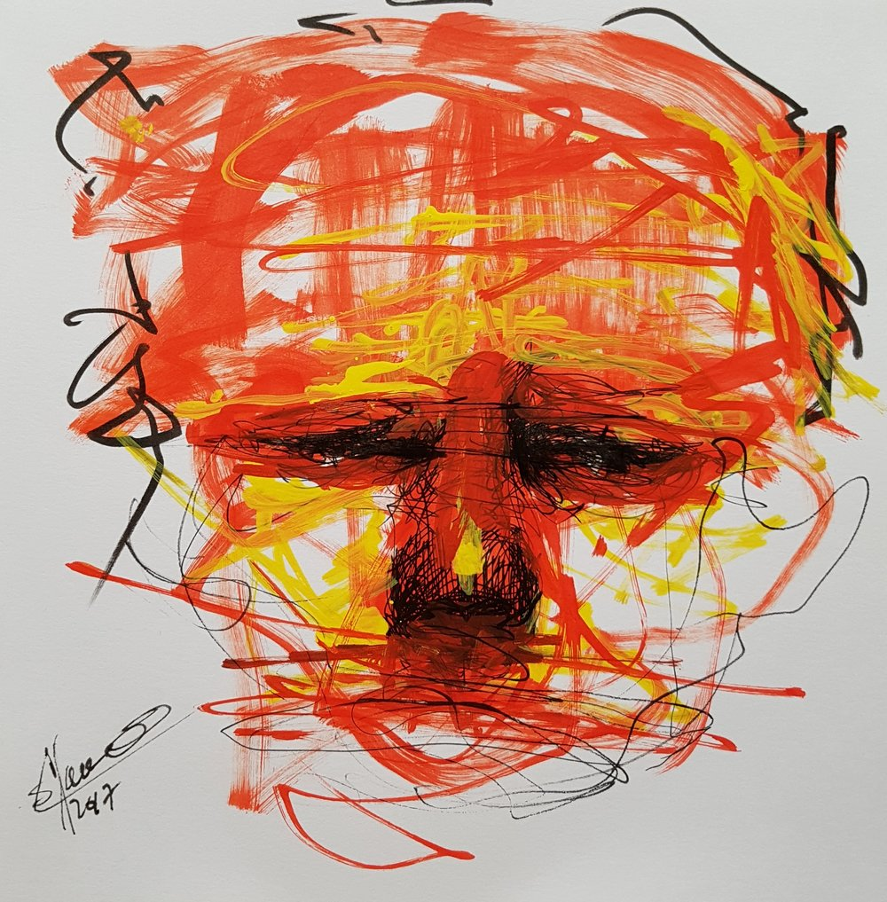 abstract face drawing