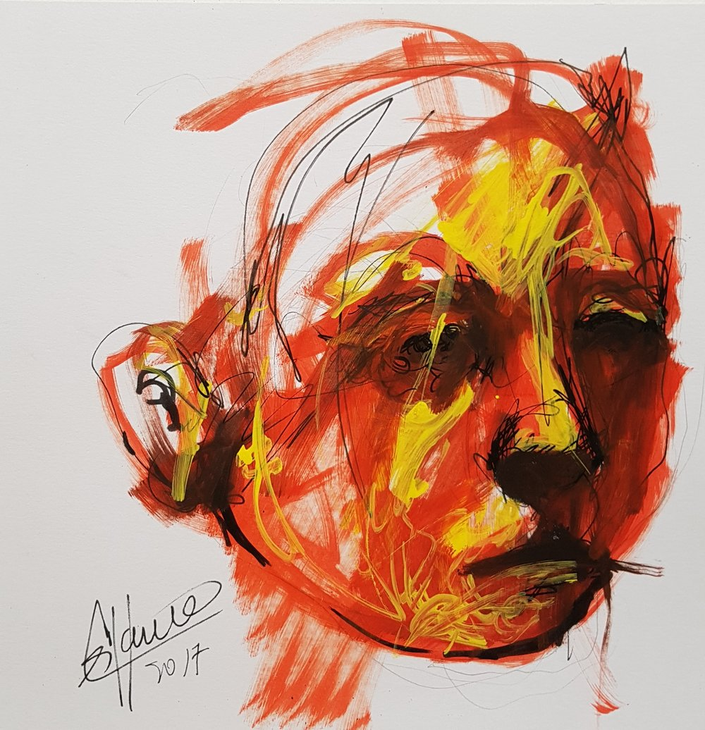 drawing of face with orange and yellow marker