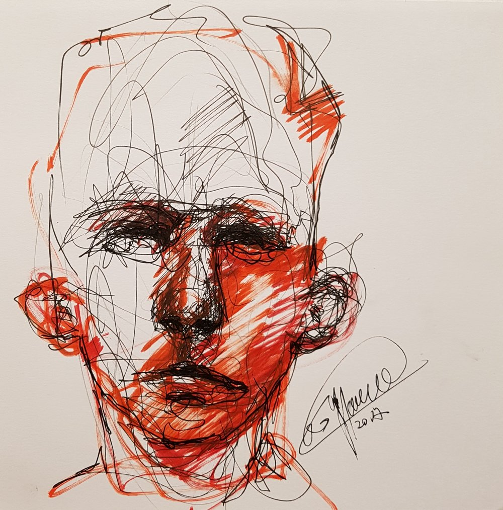 abstract drawing of faces
