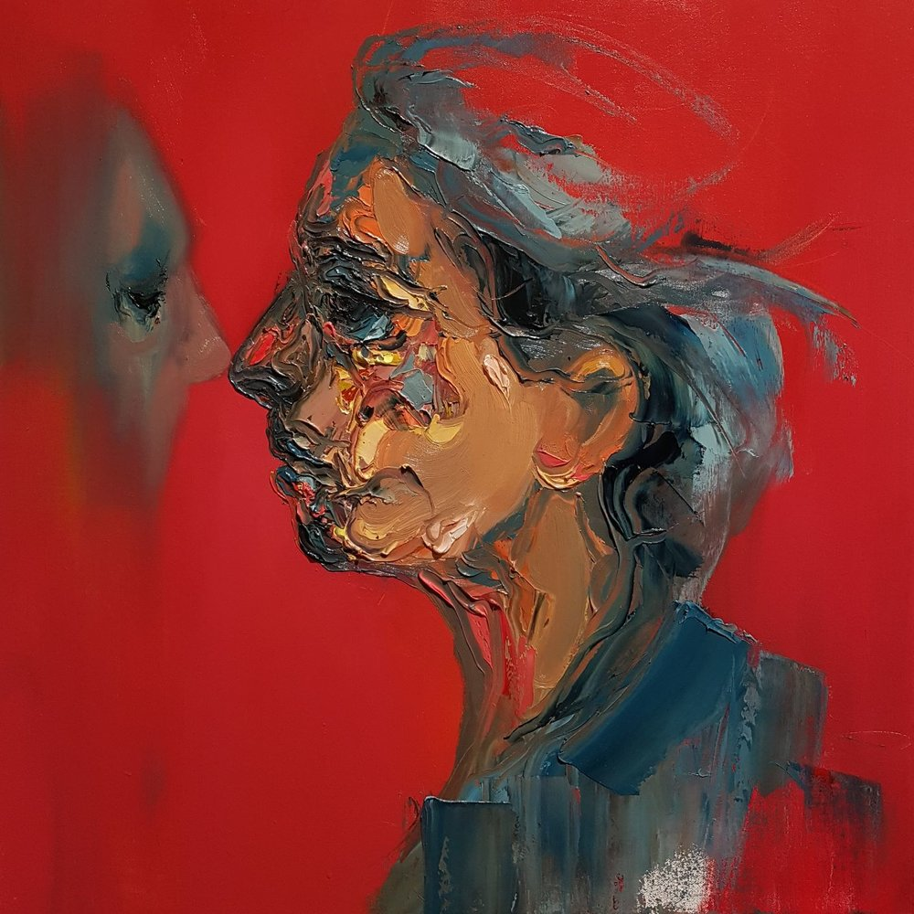 red background, two faces, abstract portrait, profile, facing each other, shadow of a face, painted by Carlos Delgado
